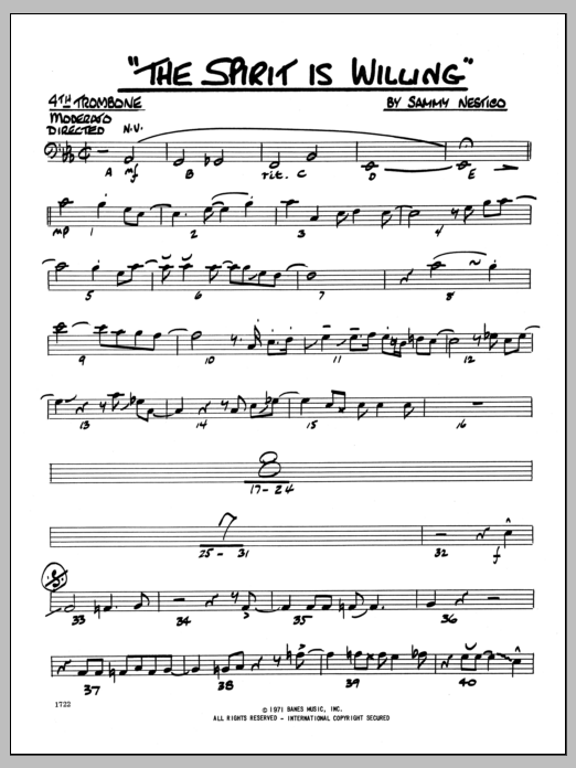 Sammy Nestico The Spirit Is Willing - 4th Trombone sheet music preview music notes and score for Jazz Ensemble including 2 page(s)