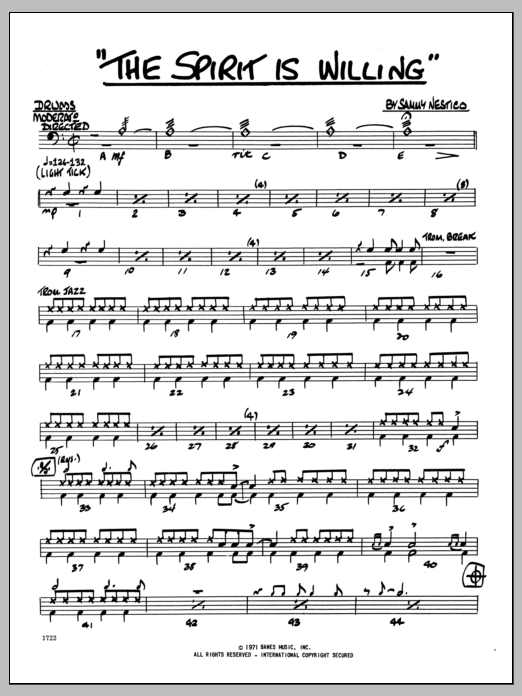 Sammy Nestico The Spirit Is Willing - Drums sheet music preview music notes and score for Jazz Ensemble including 2 page(s)