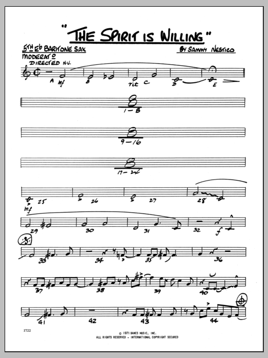 Sammy Nestico The Spirit Is Willing - Eb Baritone Sax sheet music preview music notes and score for Jazz Ensemble including 2 page(s)