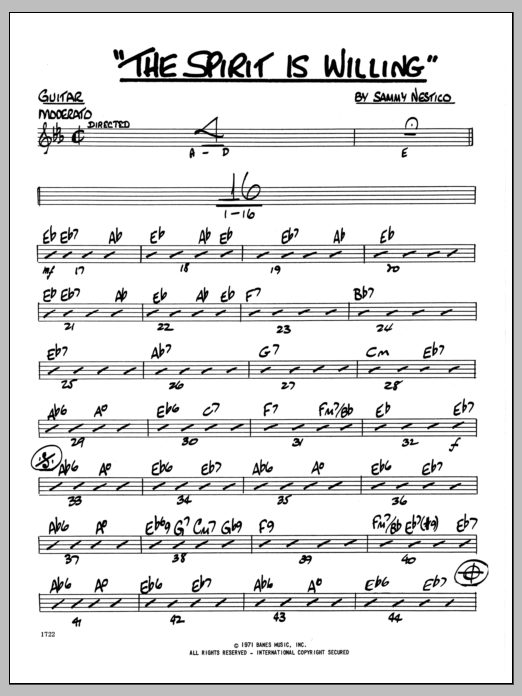Sammy Nestico The Spirit Is Willing - Guitar sheet music preview music notes and score for Jazz Ensemble including 2 page(s)