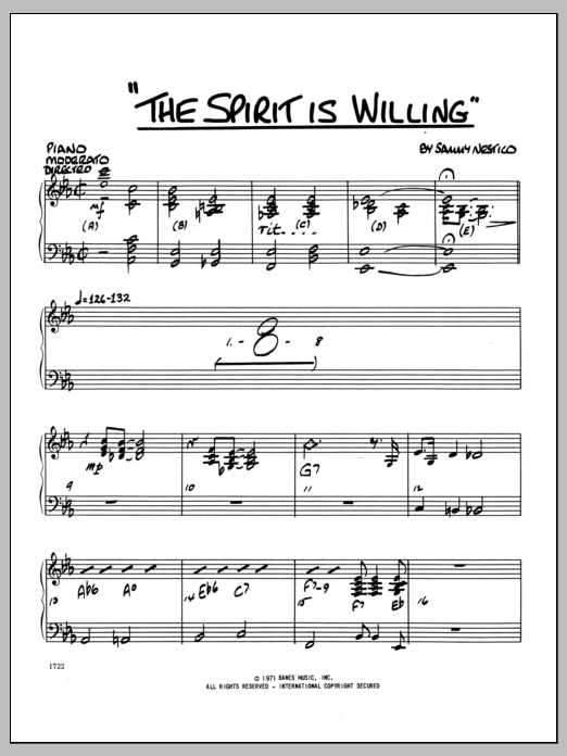Sammy Nestico The Spirit Is Willing - Piano sheet music preview music notes and score for Jazz Ensemble including 4 page(s)