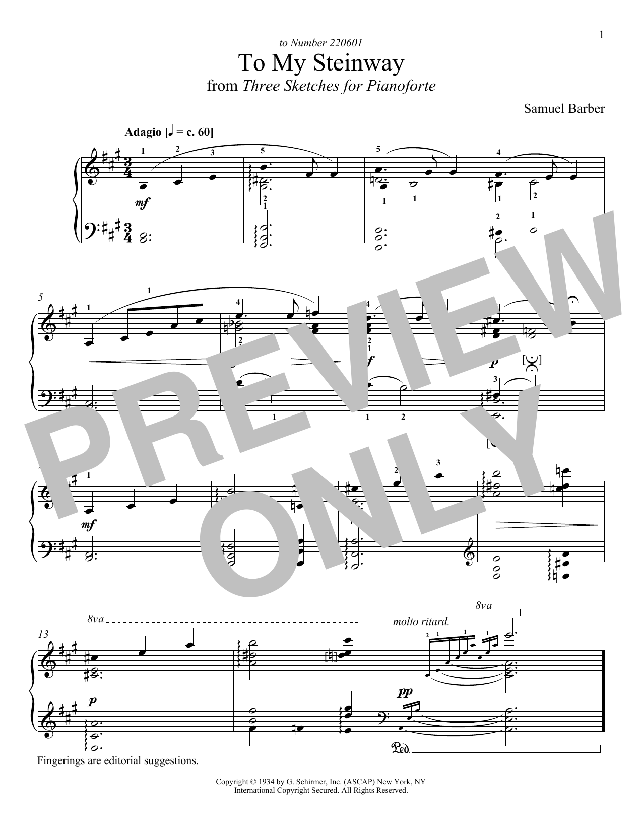 Download Samuel Barber 'To My Steinway' Digital Sheet Music Notes & Chords and start playing in minutes