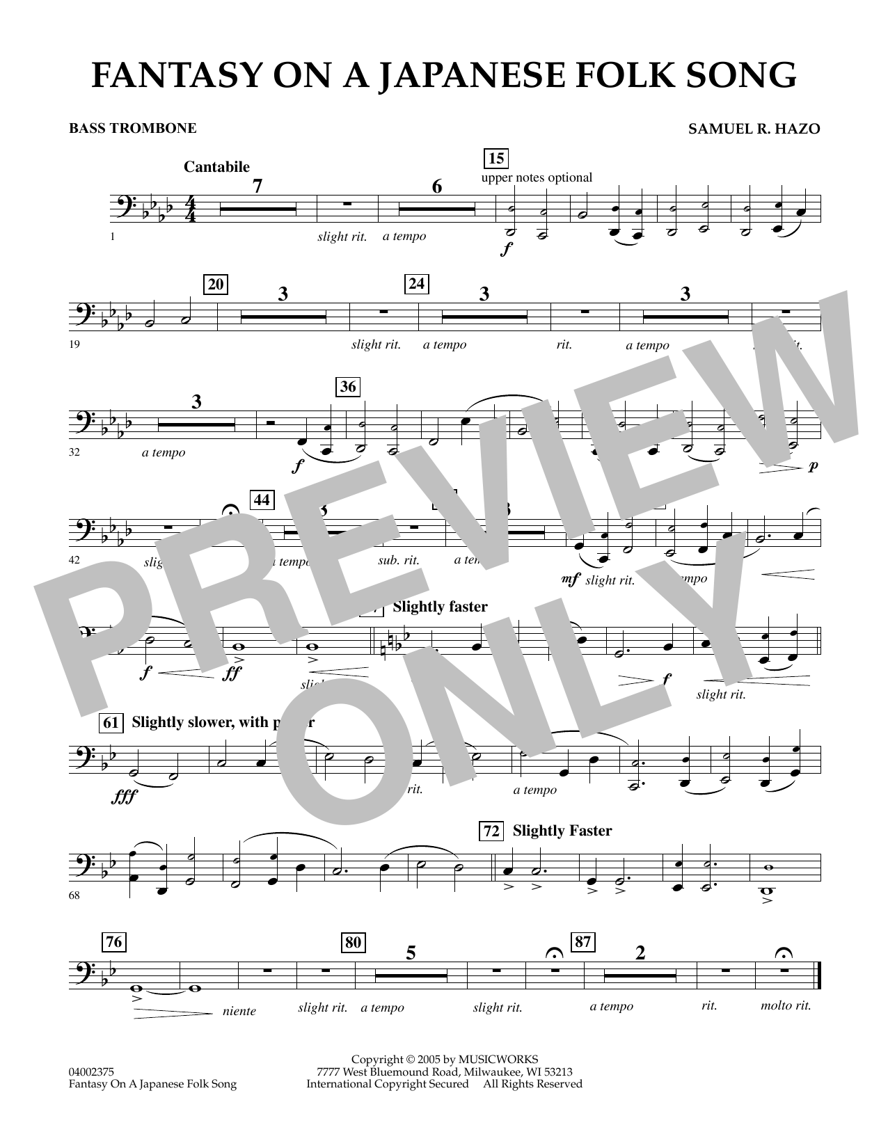 Download Samuel R. Hazo 'Fantasy On A Japanese Folk Song - Bass Trombone' Digital Sheet Music Notes & Chords and start playing in minutes
