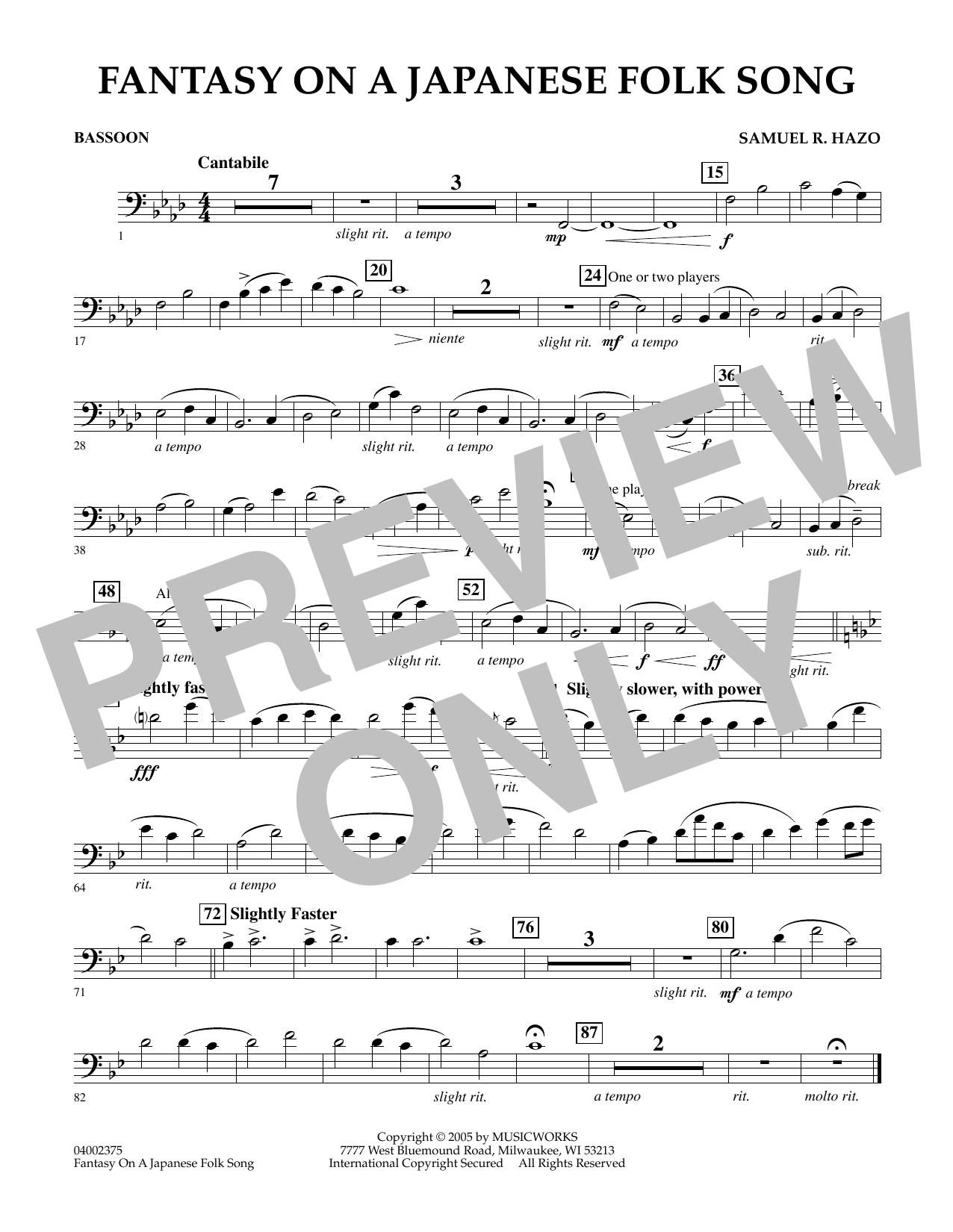 Download Samuel R. Hazo 'Fantasy On A Japanese Folk Song - Bassoon' Digital Sheet Music Notes & Chords and start playing in minutes