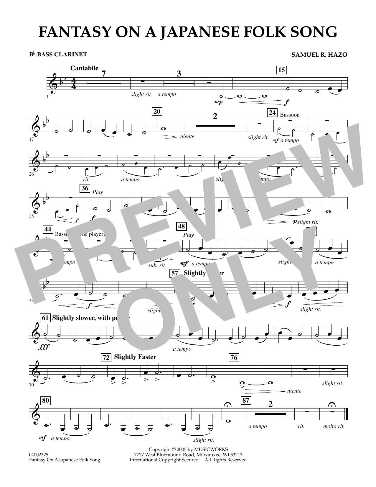 Download Samuel R. Hazo 'Fantasy On A Japanese Folk Song - Bb Bass Clarinet' Digital Sheet Music Notes & Chords and start playing in minutes