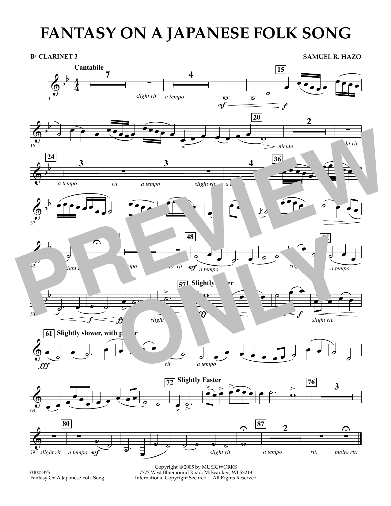 Download Samuel R. Hazo 'Fantasy On A Japanese Folk Song - Bb Clarinet 3' Digital Sheet Music Notes & Chords and start playing in minutes