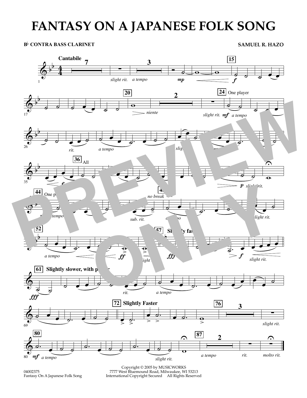 Download Samuel R. Hazo 'Fantasy On A Japanese Folk Song - Bb Contra Bass Clarinet' Digital Sheet Music Notes & Chords and start playing in minutes
