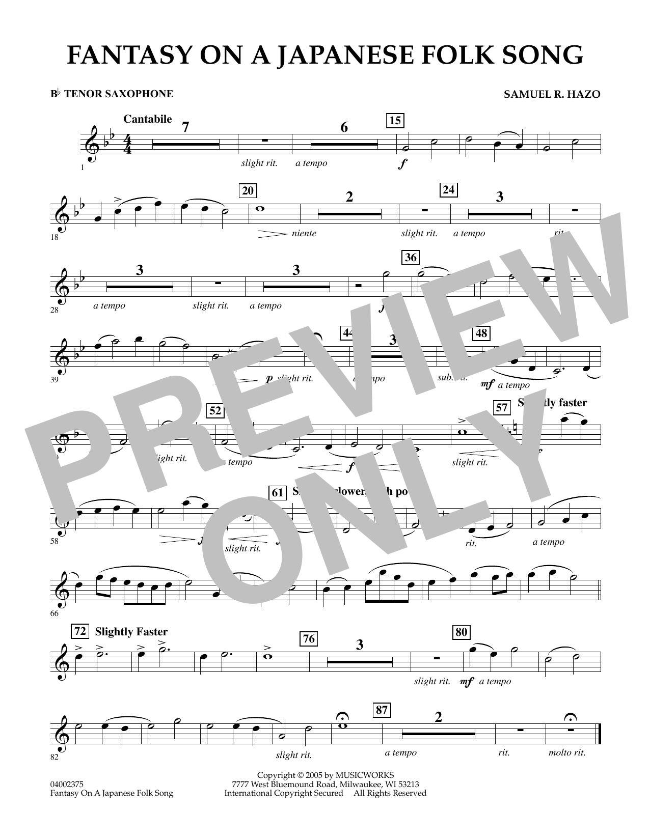 Download Samuel R. Hazo 'Fantasy On A Japanese Folk Song - Bb Tenor Saxophone' Digital Sheet Music Notes & Chords and start playing in minutes