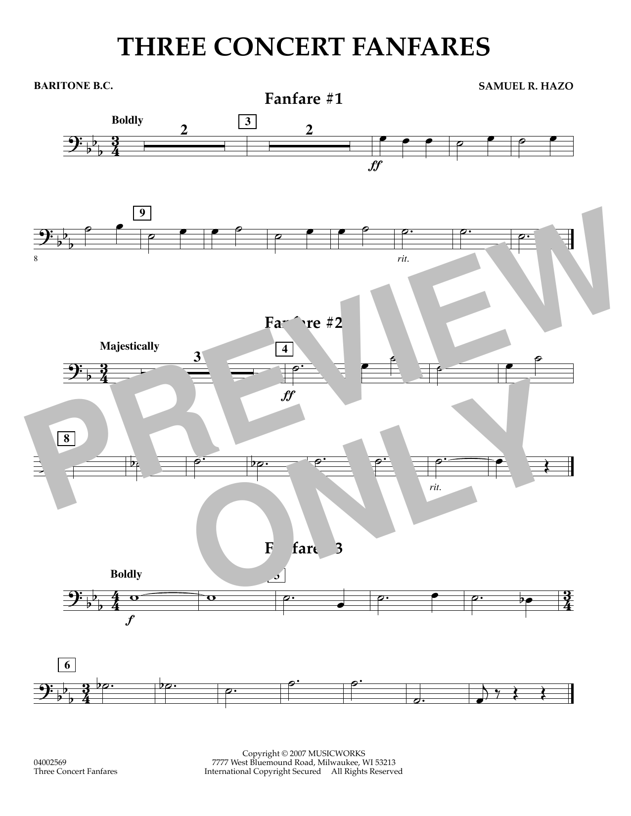 Samuel R. Hazo Three Concert Fanfares - Baritone B.C. sheet music preview music notes and score for Concert Band including 1 page(s)