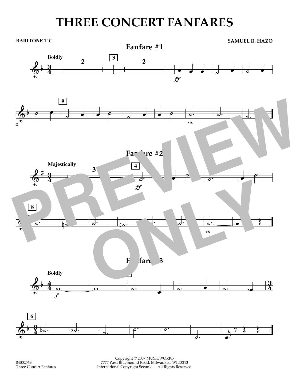 Samuel R. Hazo Three Concert Fanfares - Baritone T.C. sheet music preview music notes and score for Concert Band including 1 page(s)