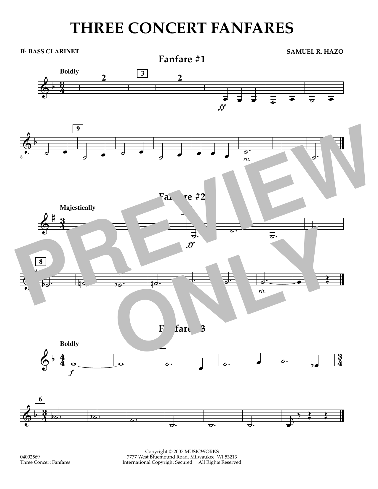 Samuel R. Hazo Three Concert Fanfares - Bb Bass Clarinet sheet music preview music notes and score for Concert Band including 1 page(s)