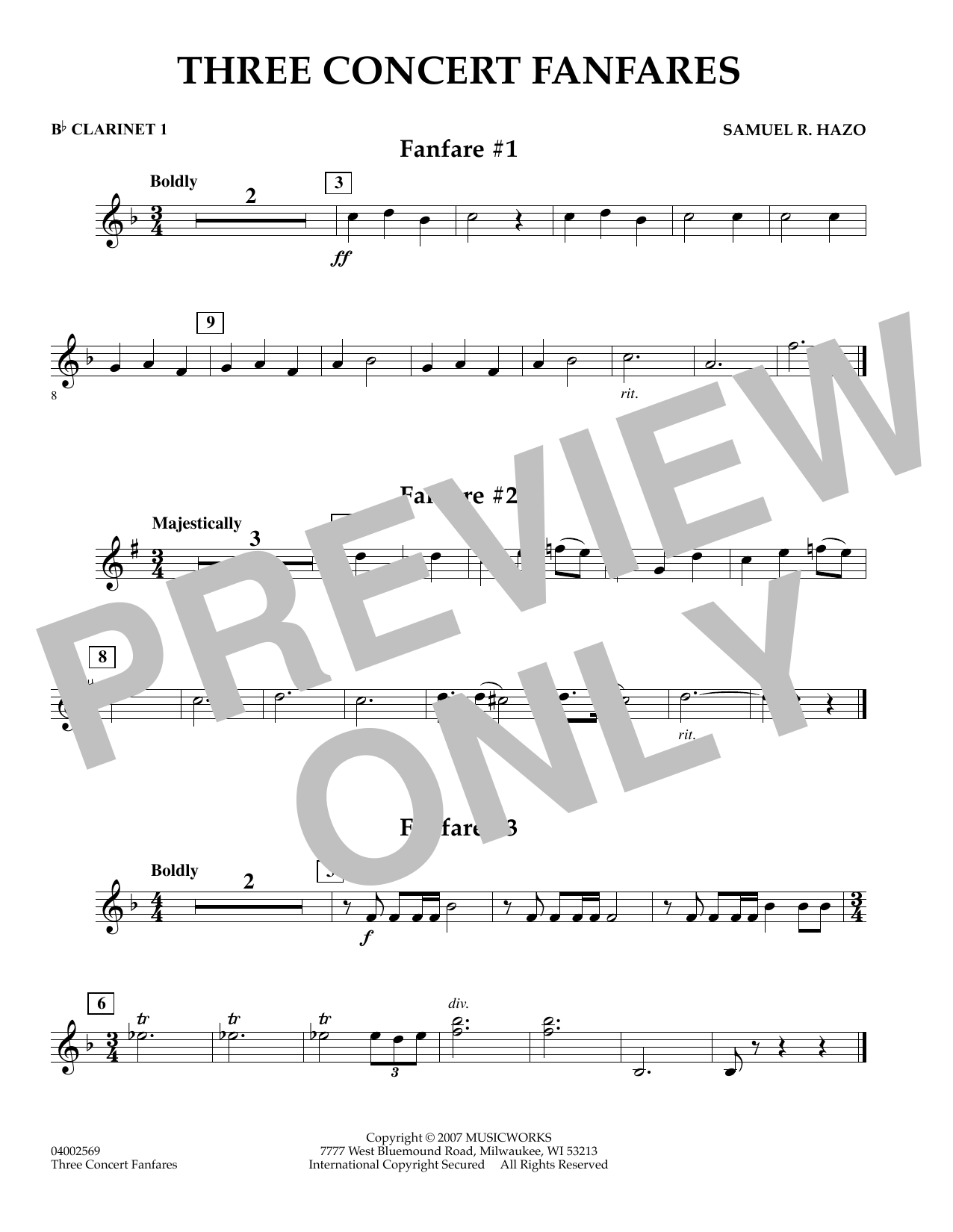 Samuel R. Hazo Three Concert Fanfares - Bb Clarinet 1 sheet music preview music notes and score for Concert Band including 1 page(s)
