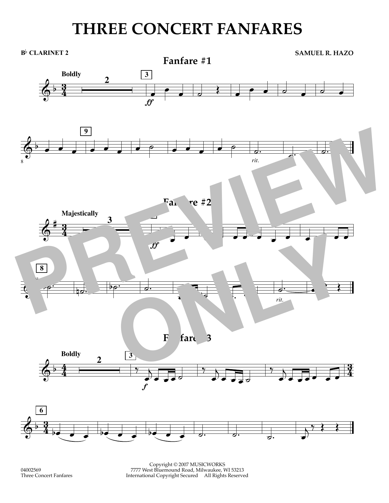 Samuel R. Hazo Three Concert Fanfares - Bb Clarinet 2 sheet music preview music notes and score for Concert Band including 1 page(s)