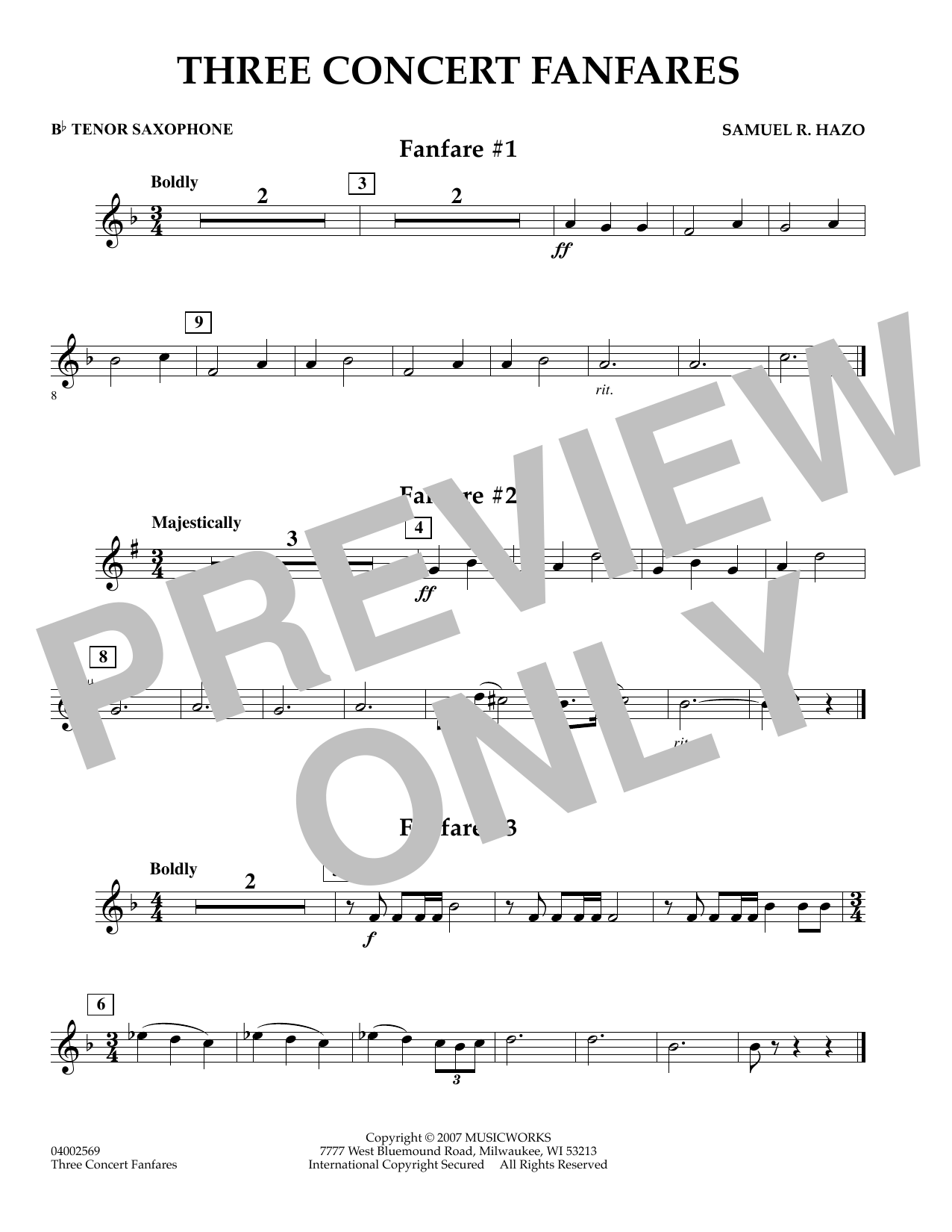Samuel R. Hazo Three Concert Fanfares - Bb Tenor Saxophone sheet music preview music notes and score for Concert Band including 1 page(s)