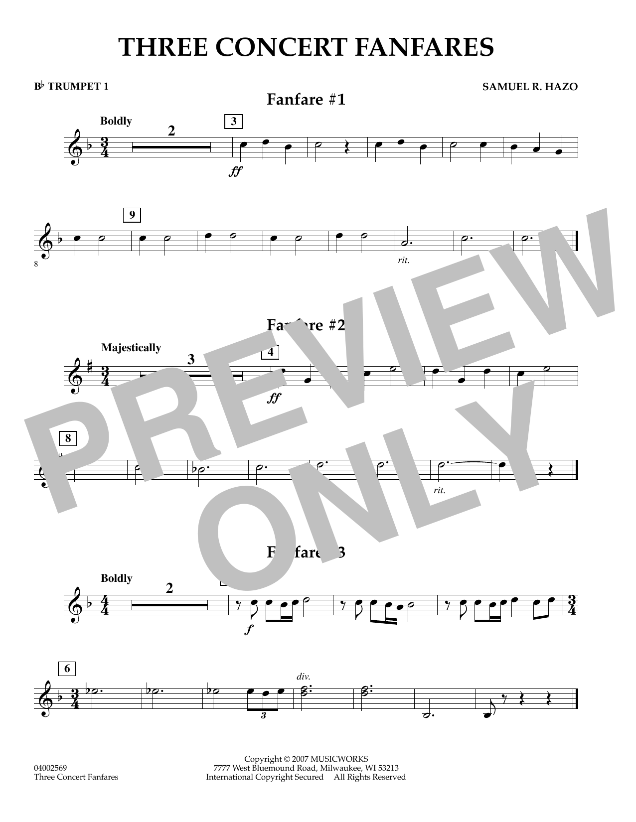 Samuel R. Hazo Three Concert Fanfares - Bb Trumpet 1 sheet music preview music notes and score for Concert Band including 1 page(s)