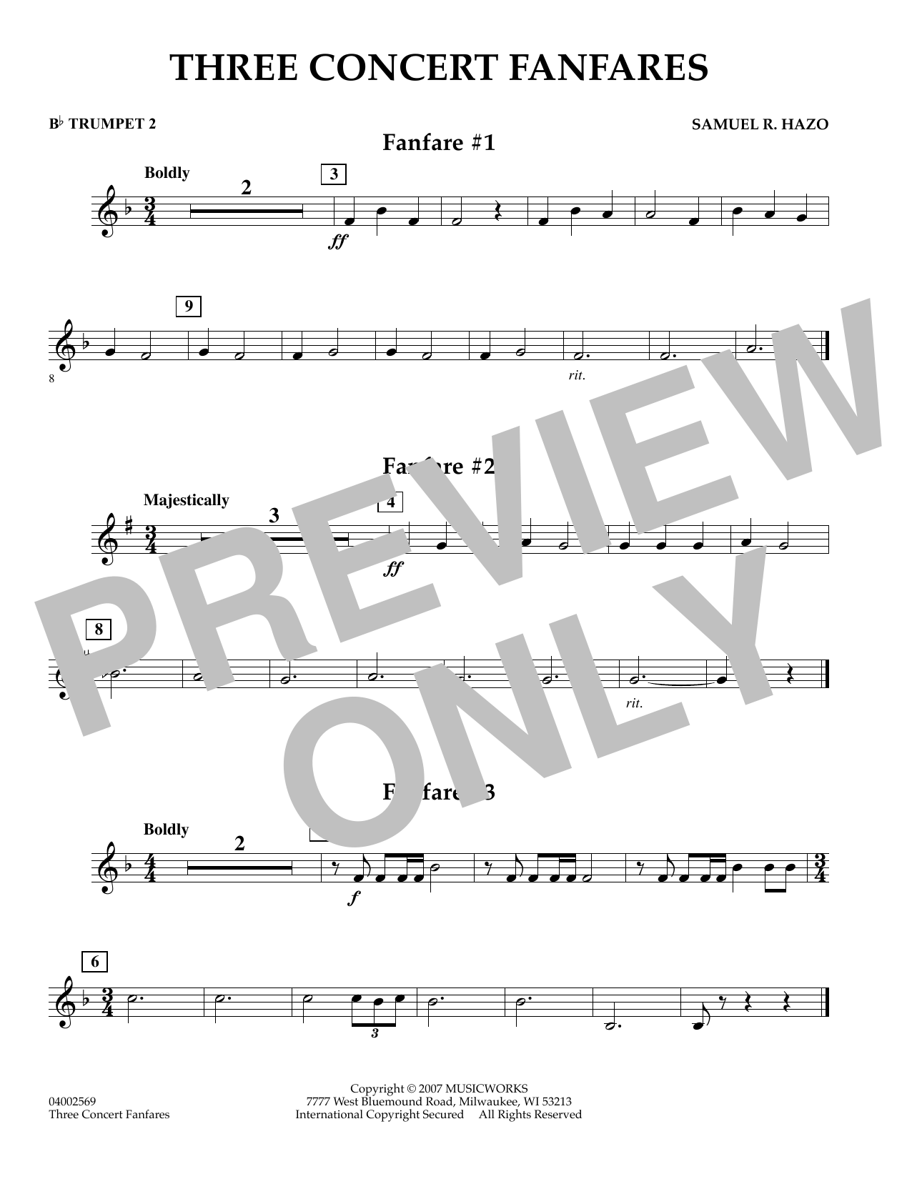 Samuel R. Hazo Three Concert Fanfares - Bb Trumpet 2 sheet music preview music notes and score for Concert Band including 1 page(s)