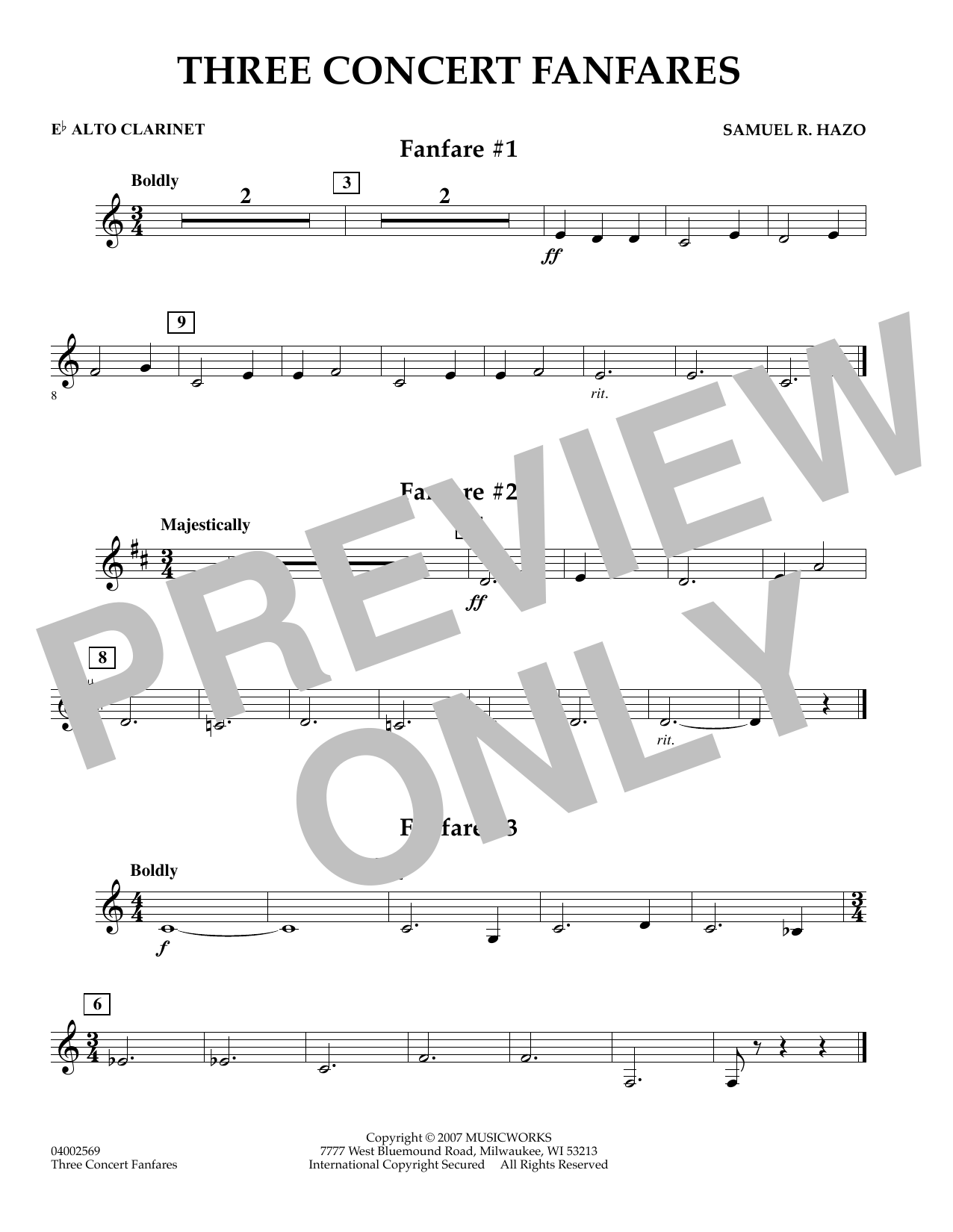Samuel R. Hazo Three Concert Fanfares - Eb Alto Clarinet sheet music preview music notes and score for Concert Band including 1 page(s)