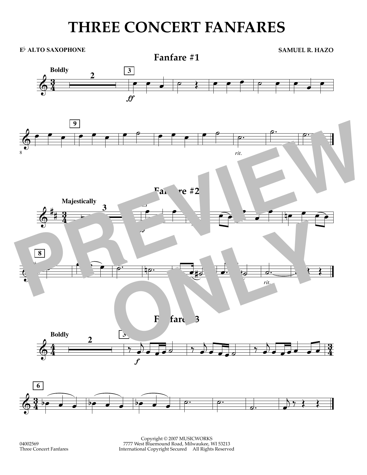 Samuel R. Hazo Three Concert Fanfares - Eb Alto Saxophone sheet music preview music notes and score for Concert Band including 1 page(s)