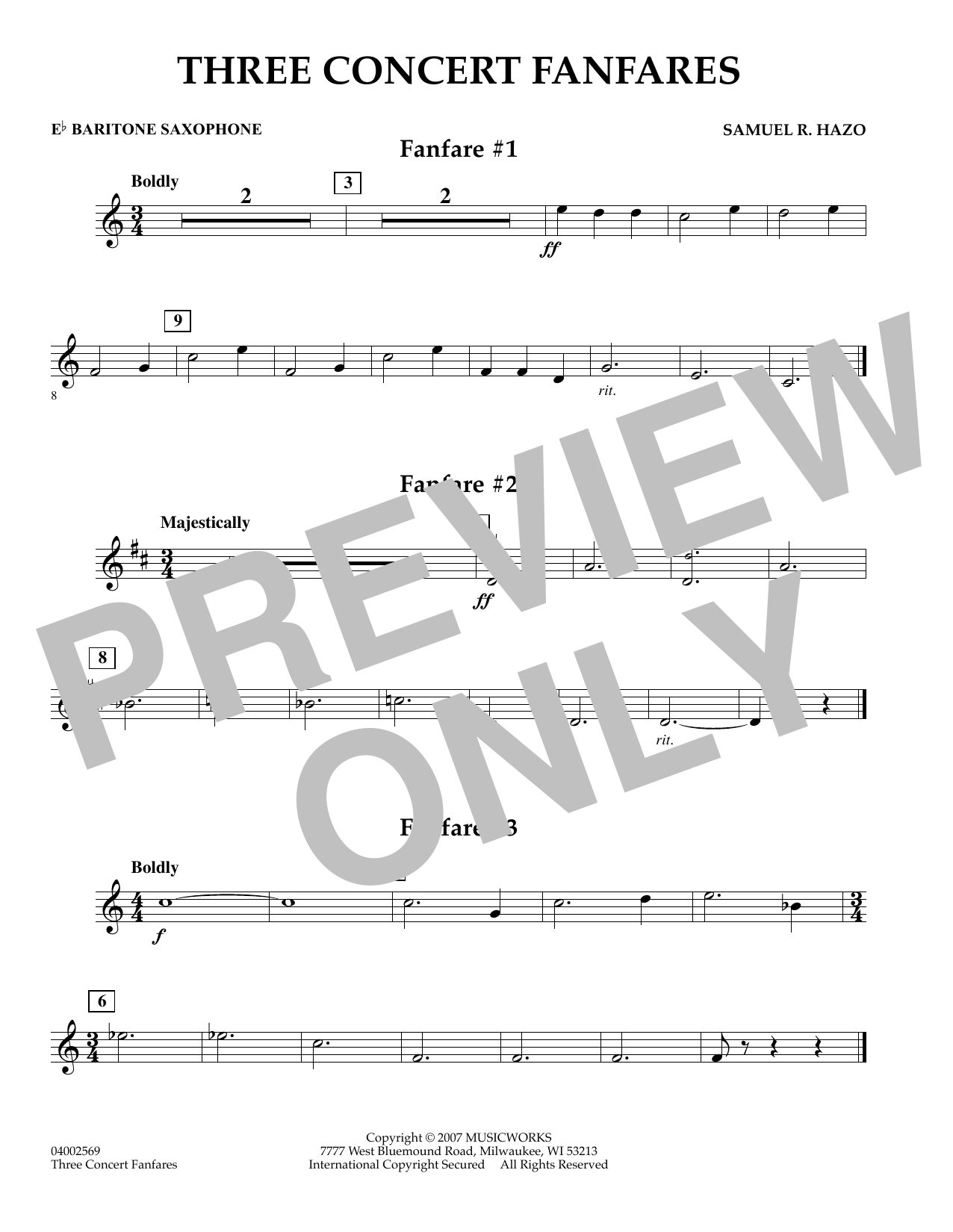 Samuel R. Hazo Three Concert Fanfares - Eb Baritone Saxophone sheet music preview music notes and score for Concert Band including 1 page(s)