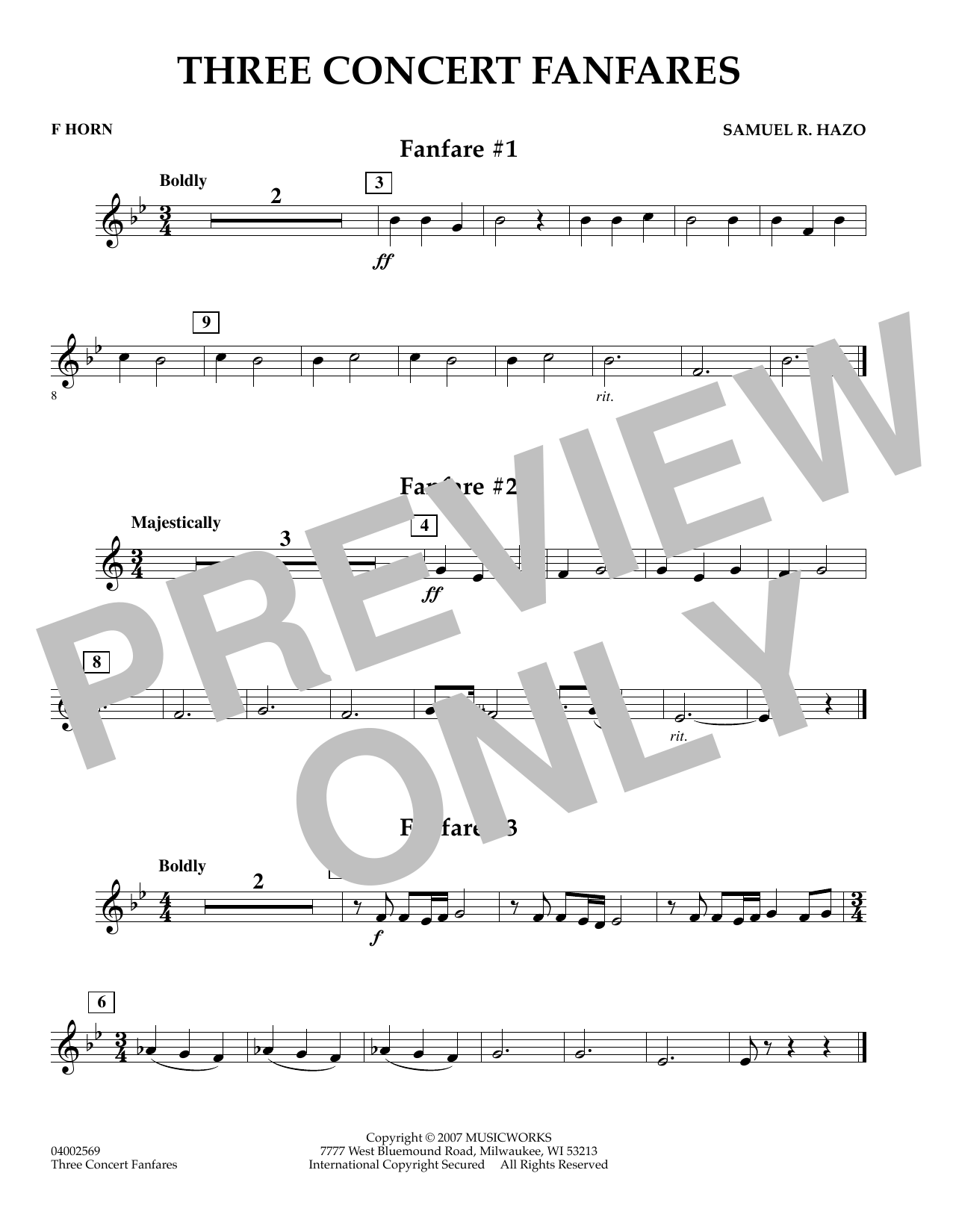 Samuel R. Hazo Three Concert Fanfares - F Horn sheet music preview music notes and score for Concert Band including 1 page(s)