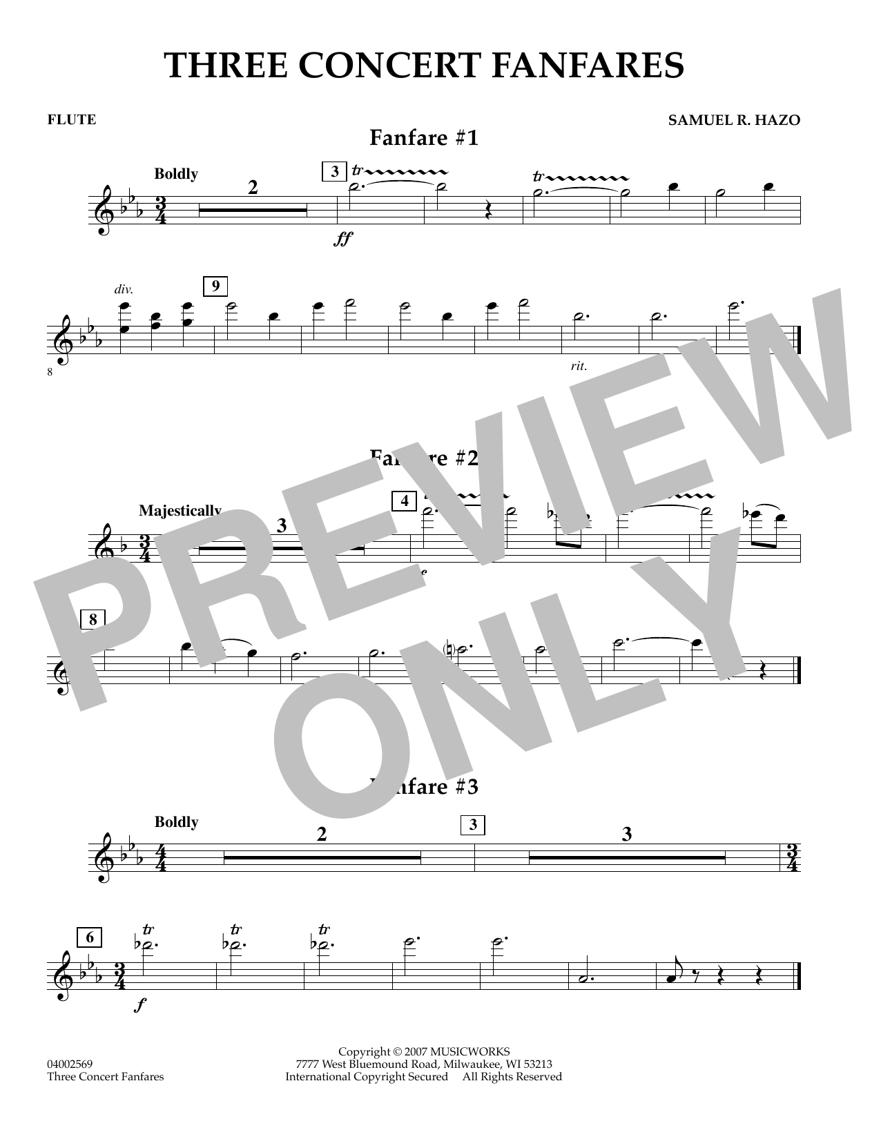 Samuel R. Hazo Three Concert Fanfares - Flute sheet music preview music notes and score for Concert Band including 1 page(s)
