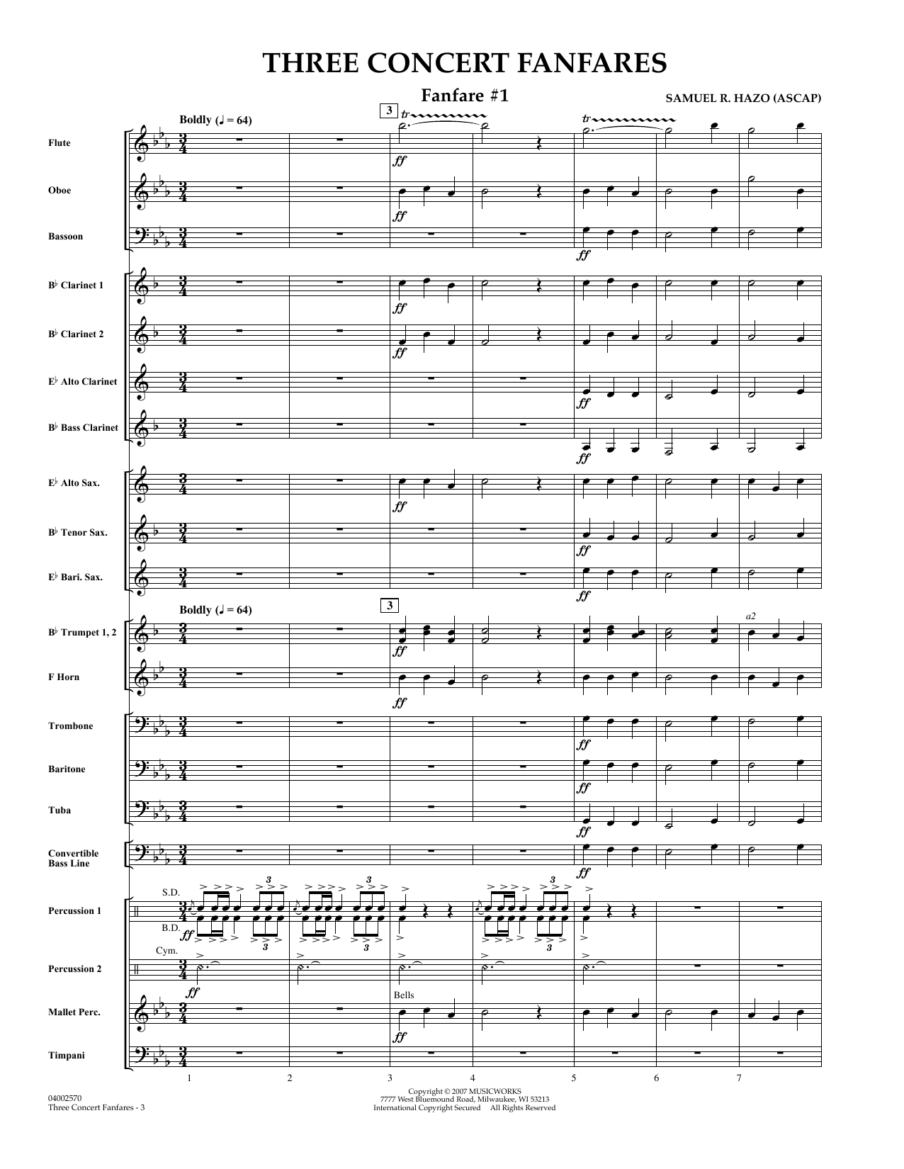 Samuel R. Hazo Three Concert Fanfares - Full Score sheet music preview music notes and score for Concert Band including 6 page(s)