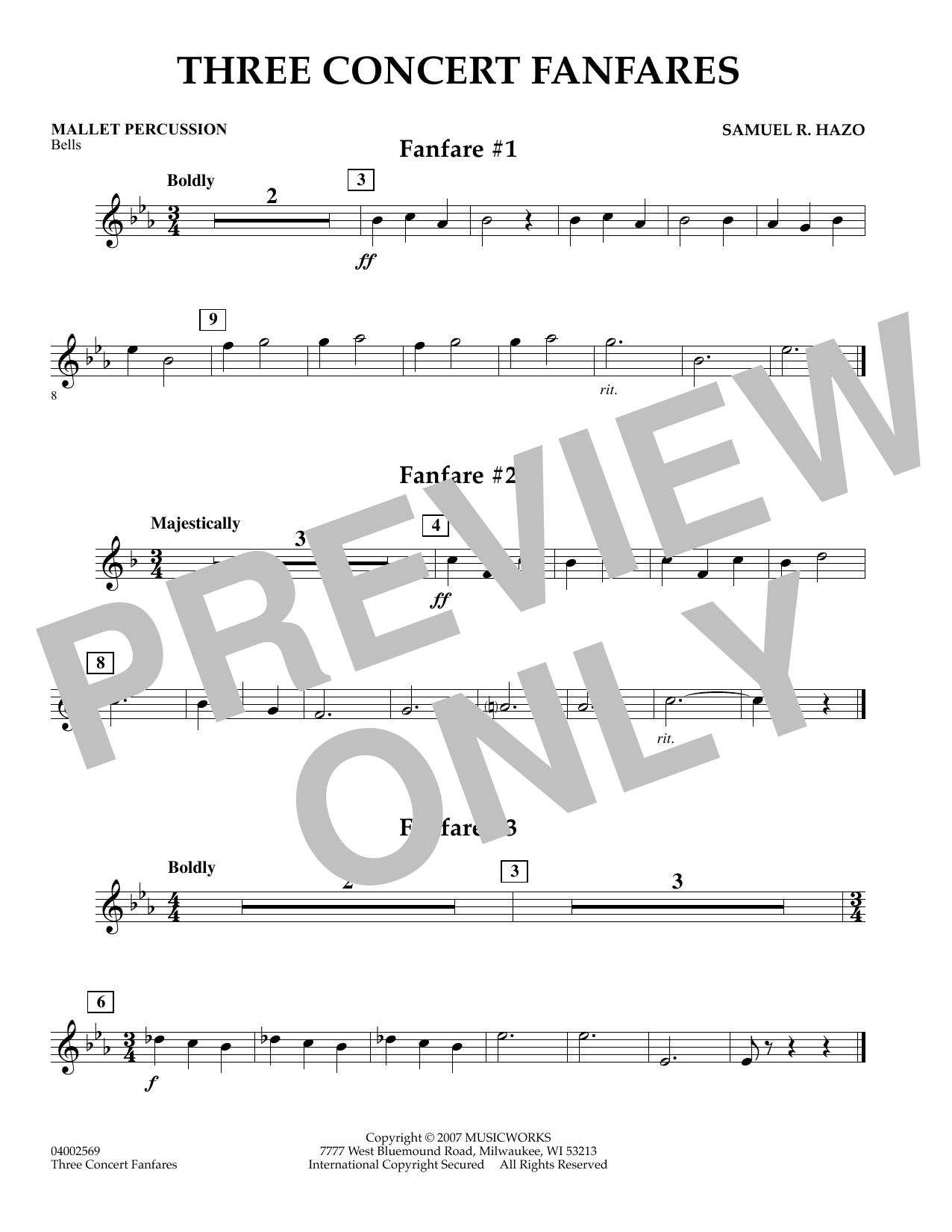 Samuel R. Hazo Three Concert Fanfares - Mallet Percussion sheet music preview music notes and score for Concert Band including 1 page(s)