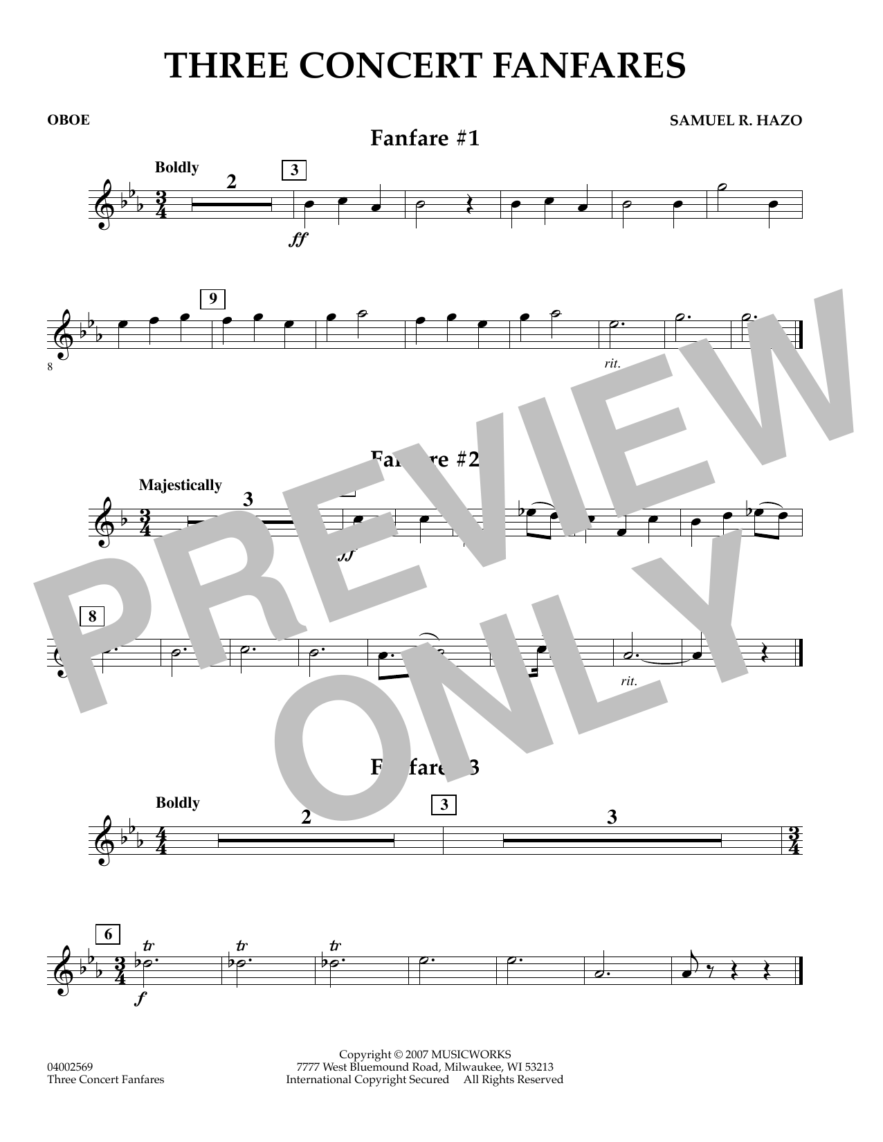 Samuel R. Hazo Three Concert Fanfares - Oboe sheet music preview music notes and score for Concert Band including 1 page(s)
