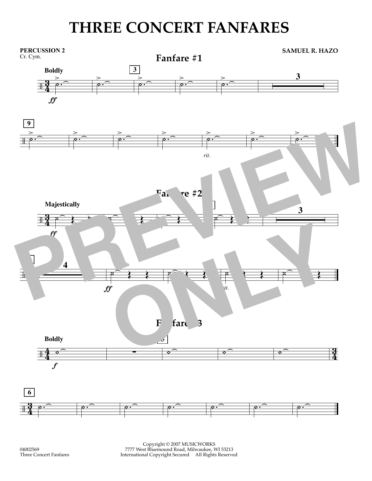 Samuel R. Hazo Three Concert Fanfares - Percussion 2 sheet music preview music notes and score for Concert Band including 1 page(s)
