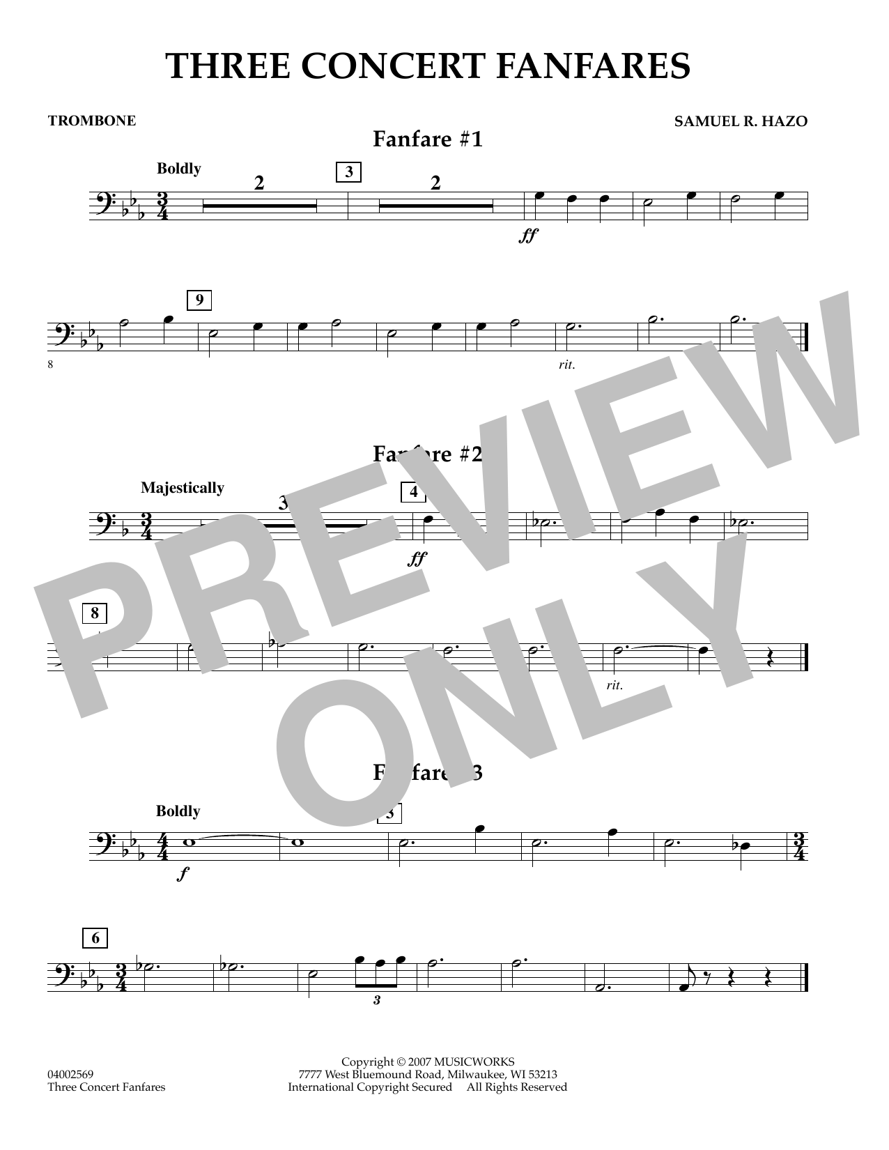 Samuel R. Hazo Three Concert Fanfares - Trombone sheet music preview music notes and score for Concert Band including 1 page(s)
