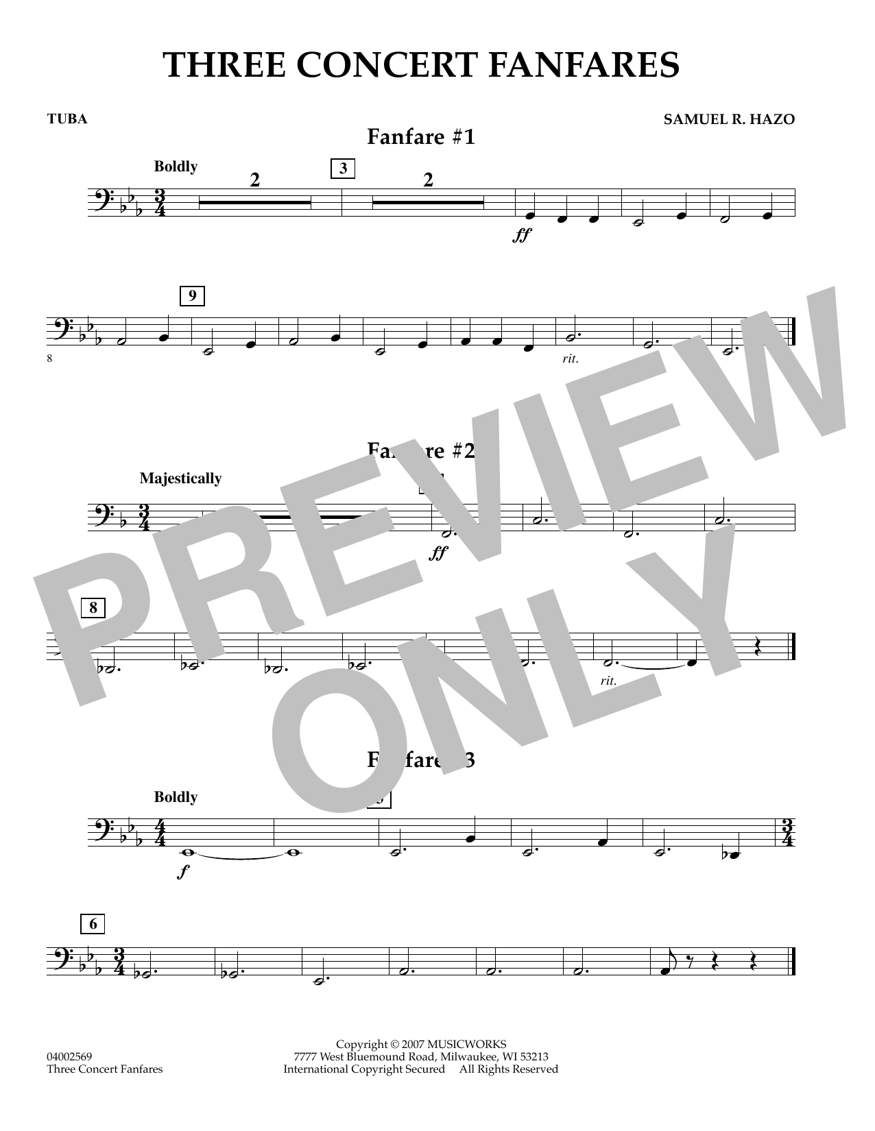 Samuel R. Hazo Three Concert Fanfares - Tuba sheet music preview music notes and score for Concert Band including 1 page(s)