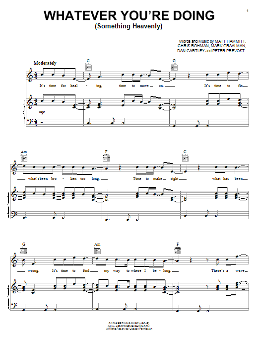 Sanctus Real Whatever You're Doing (Something Heavenly) sheet music notes and chords