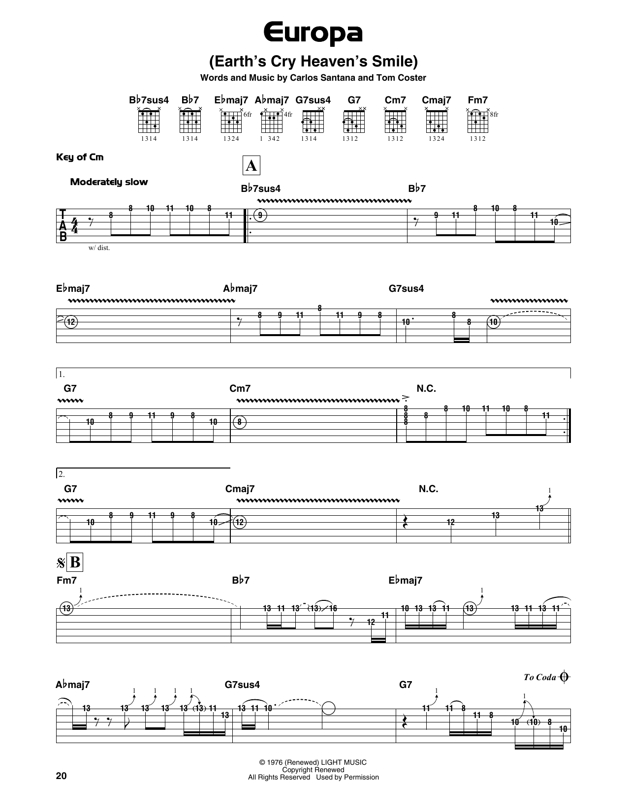 Download Santana 'Europa' Digital Sheet Music Notes & Chords and start playing in minutes