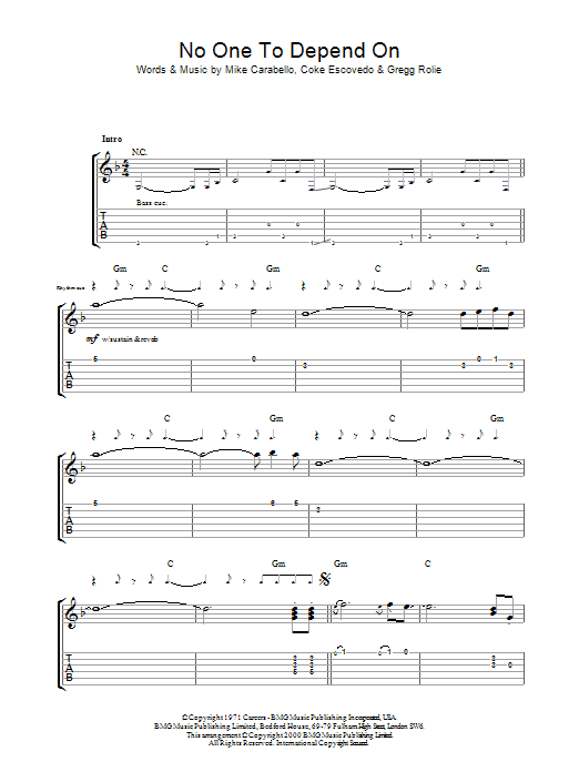 Santana No One To Depend On sheet music preview music notes and score for Guitar Tab including 16 page(s)