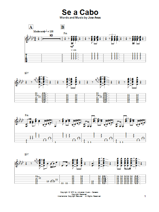 Santana Se A Cabo sheet music preview music notes and score for Guitar Tab including 4 page(s)