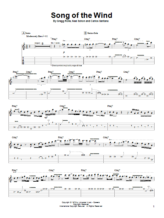 Santana Song Of The Wind sheet music preview music notes and score for Guitar Tab including 7 page(s)