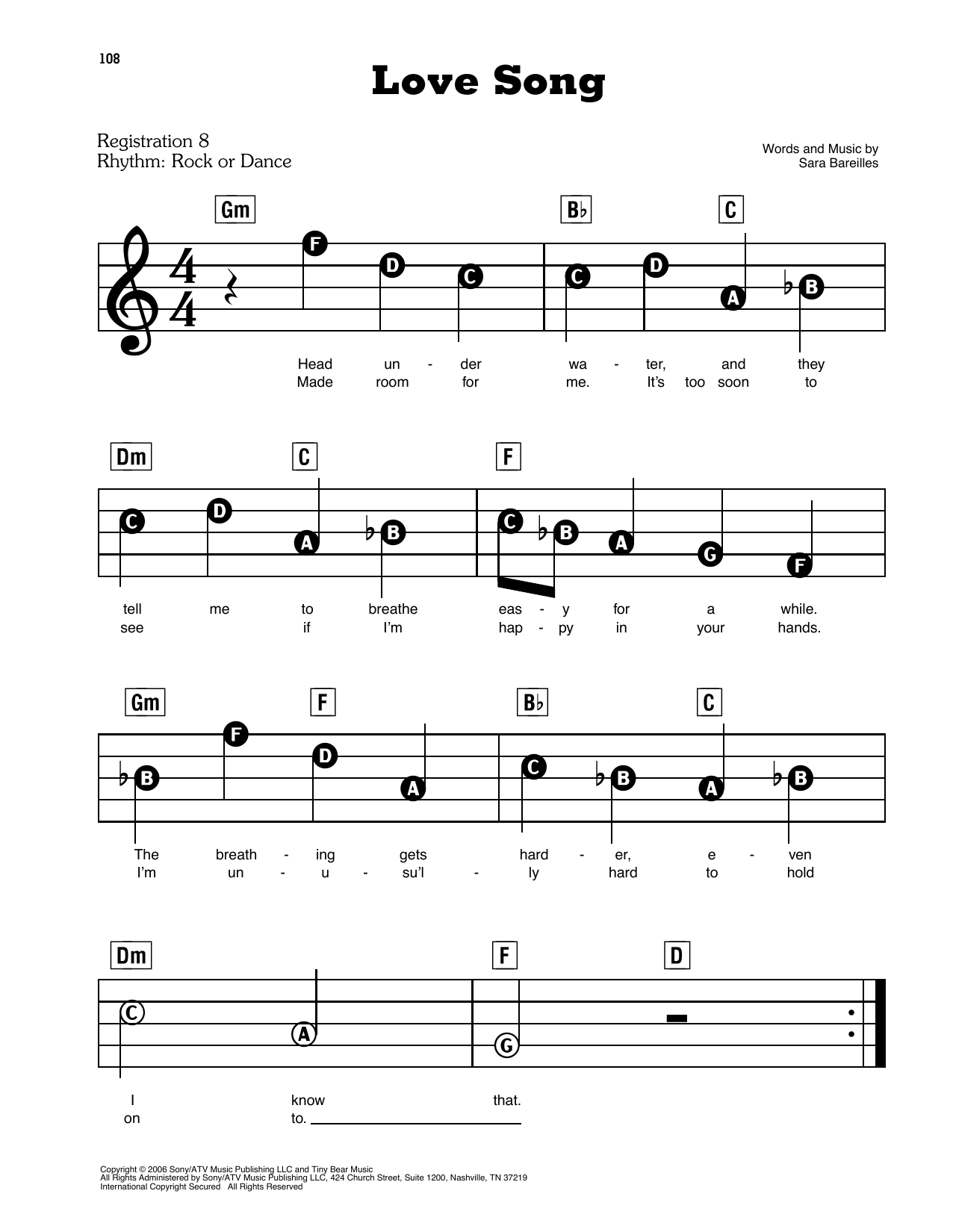Sara Bareilles Love Song sheet music preview music notes and score for E-Z Play Today including 6 page(s)