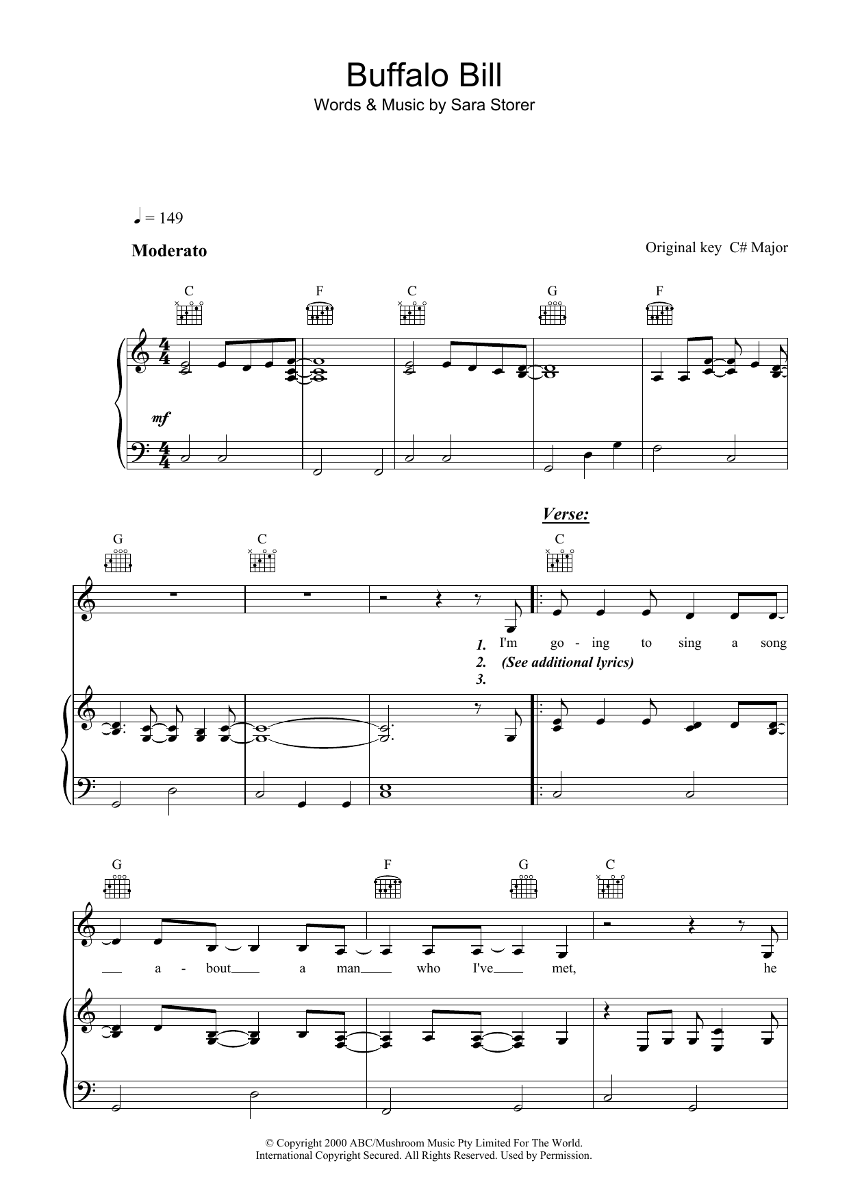 Sara Storer Buffalo Bill sheet music preview music notes and score for Piano, Vocal & Guitar (Right-Hand Melody) including 6 page(s)