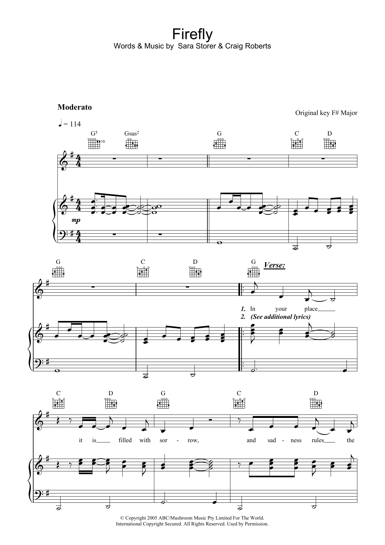 Sara Storer Firefly sheet music preview music notes and score for Piano, Vocal & Guitar (Right-Hand Melody) including 6 page(s)