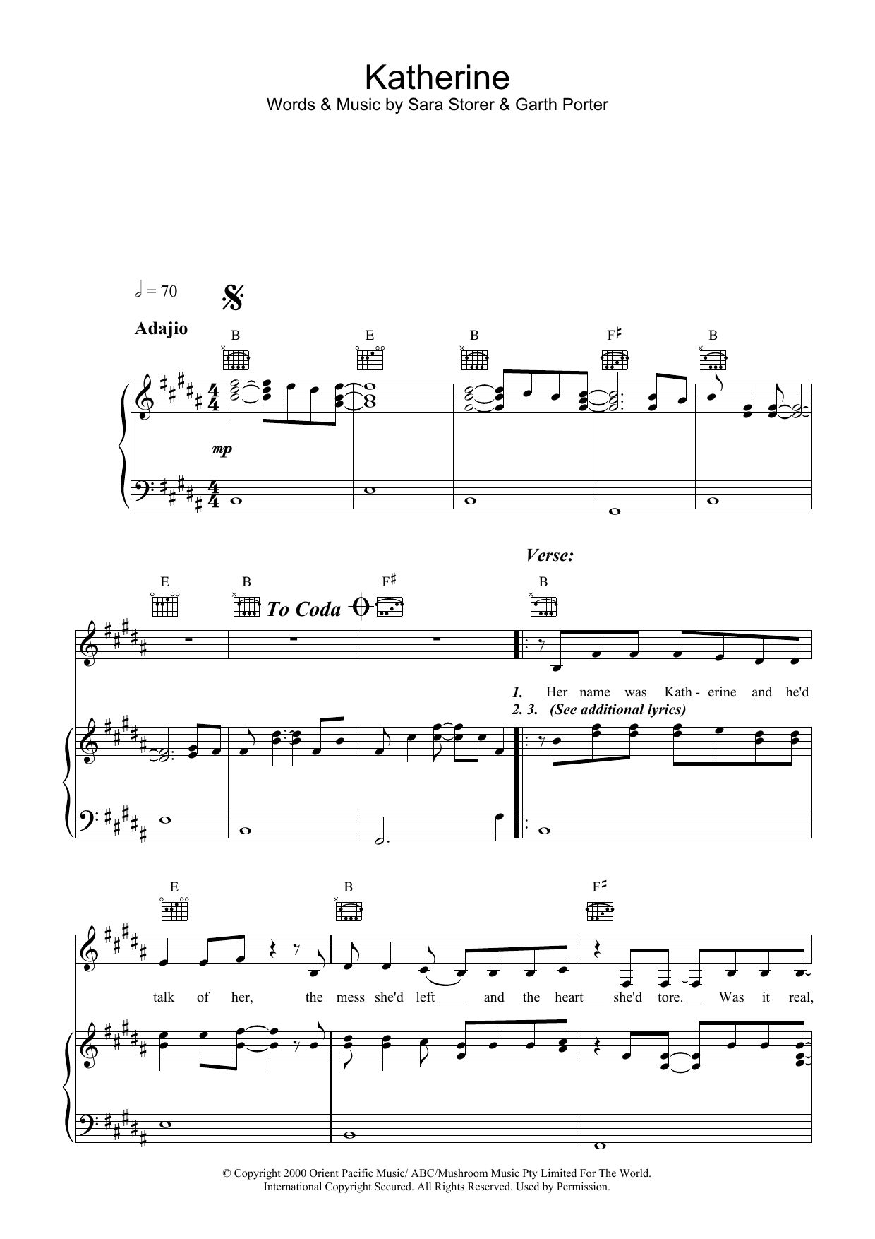 Sara Storer Katherine sheet music preview music notes and score for Piano, Vocal & Guitar (Right-Hand Melody) including 6 page(s)