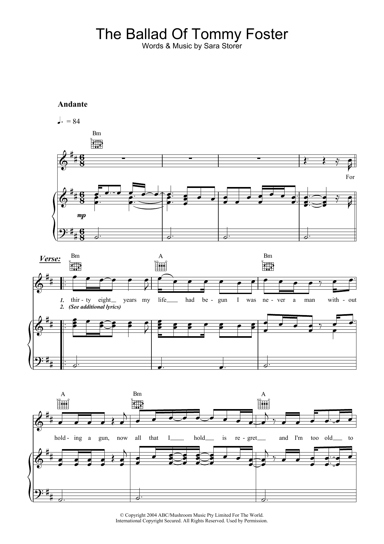 Sara Storer The Ballad Of Tommy Foster sheet music preview music notes and score for Piano, Vocal & Guitar (Right-Hand Melody) including 5 page(s)