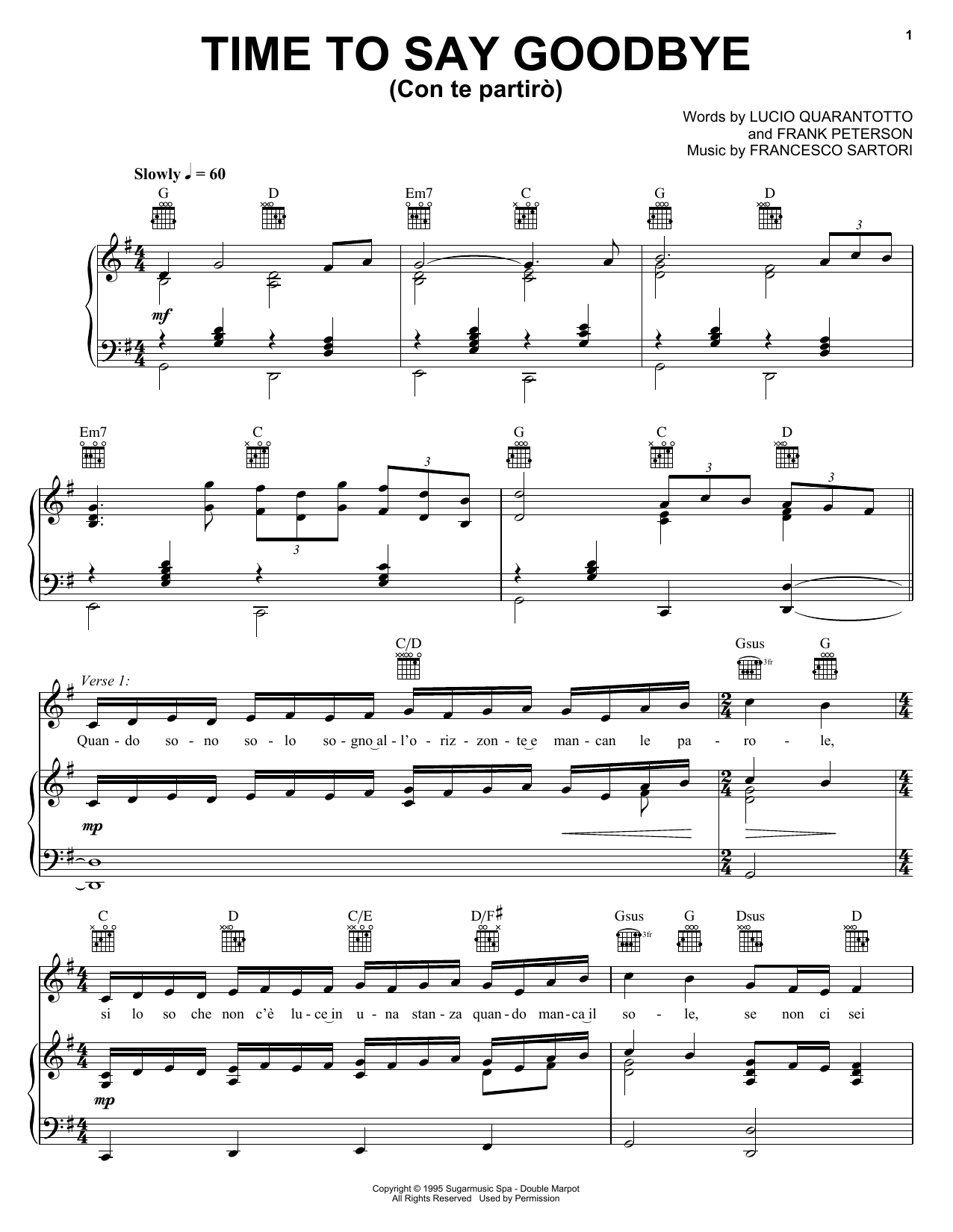 Andrea Bocelli & Sarah Brightman Time To Say Goodbye sheet music preview music notes and score for Piano, Vocal & Guitar (Right-Hand Melody) including 6 page(s)