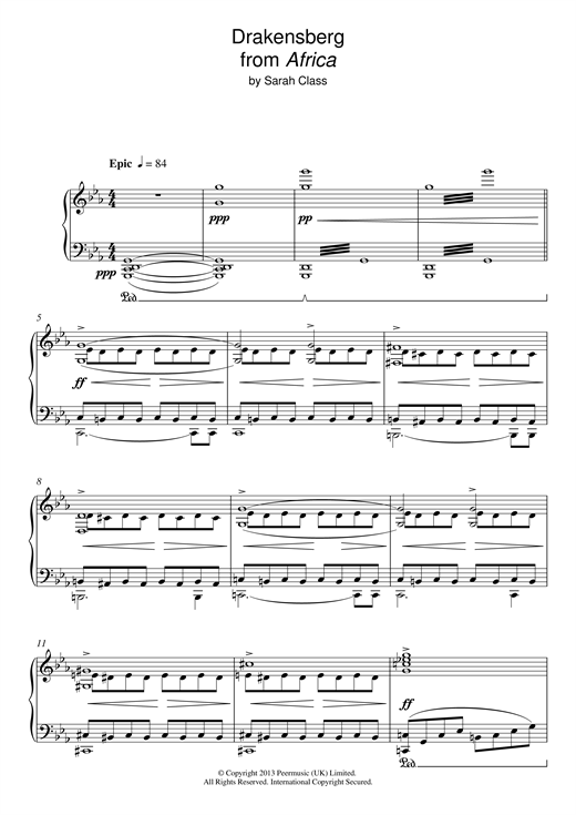 Sarah Class Draconsberg (from 'Africa') sheet music notes and chords