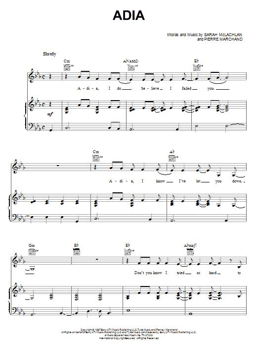 Sarah McLachlan Adia sheet music notes and chords