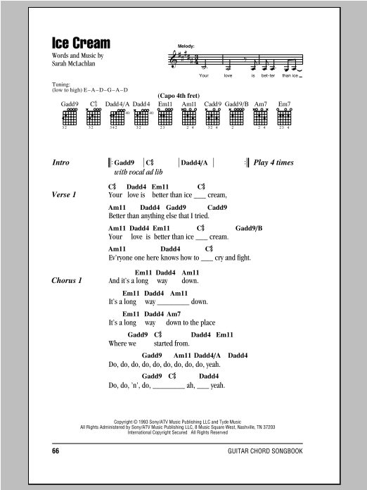 Sarah McLachlan Ice Cream sheet music preview music notes and score for Piano, Vocal & Guitar (Right-Hand Melody) including 5 page(s)