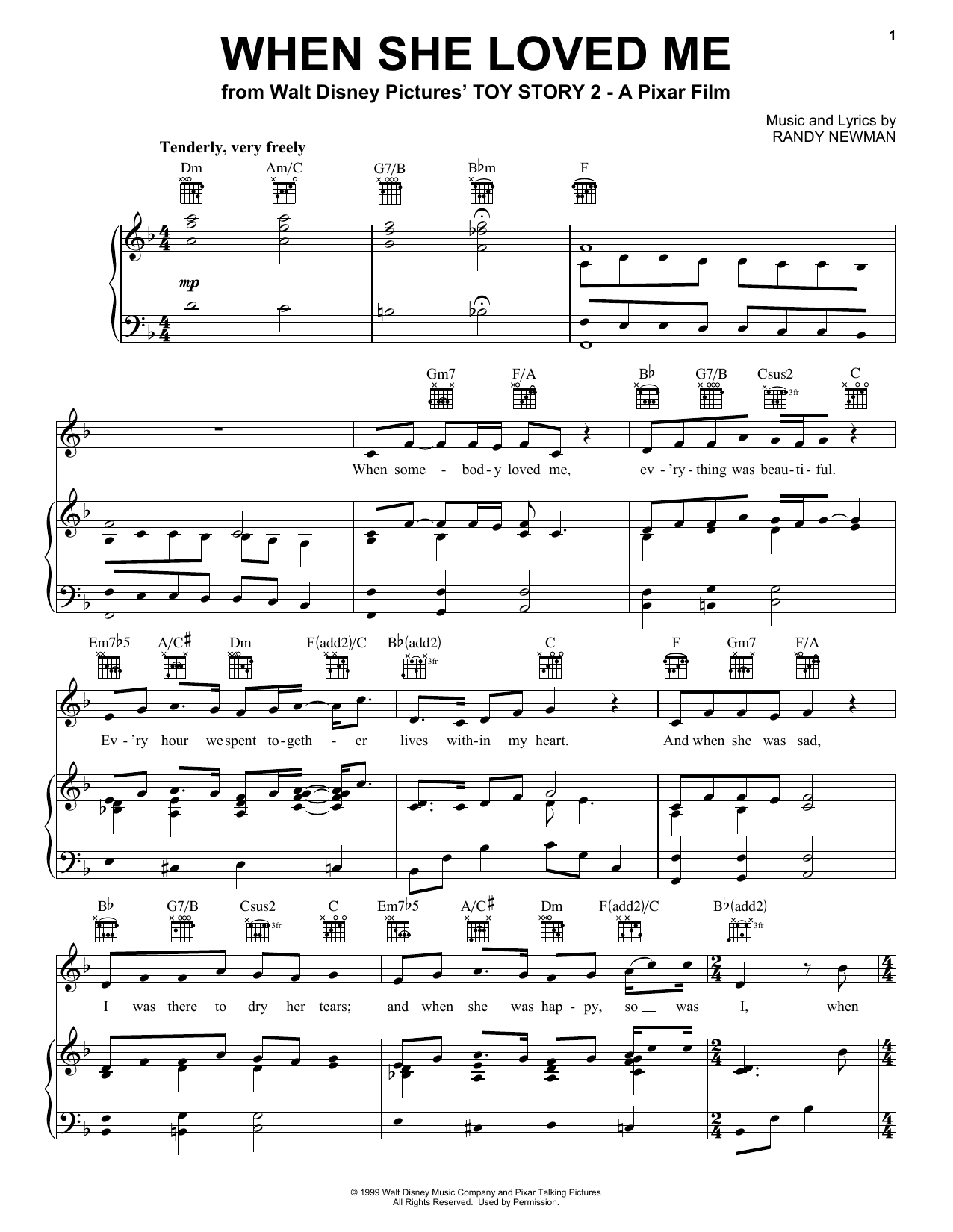 Sarah McLachlan When She Loved Me sheet music preview music notes and score for Piano (Big Notes) including 2 page(s)
