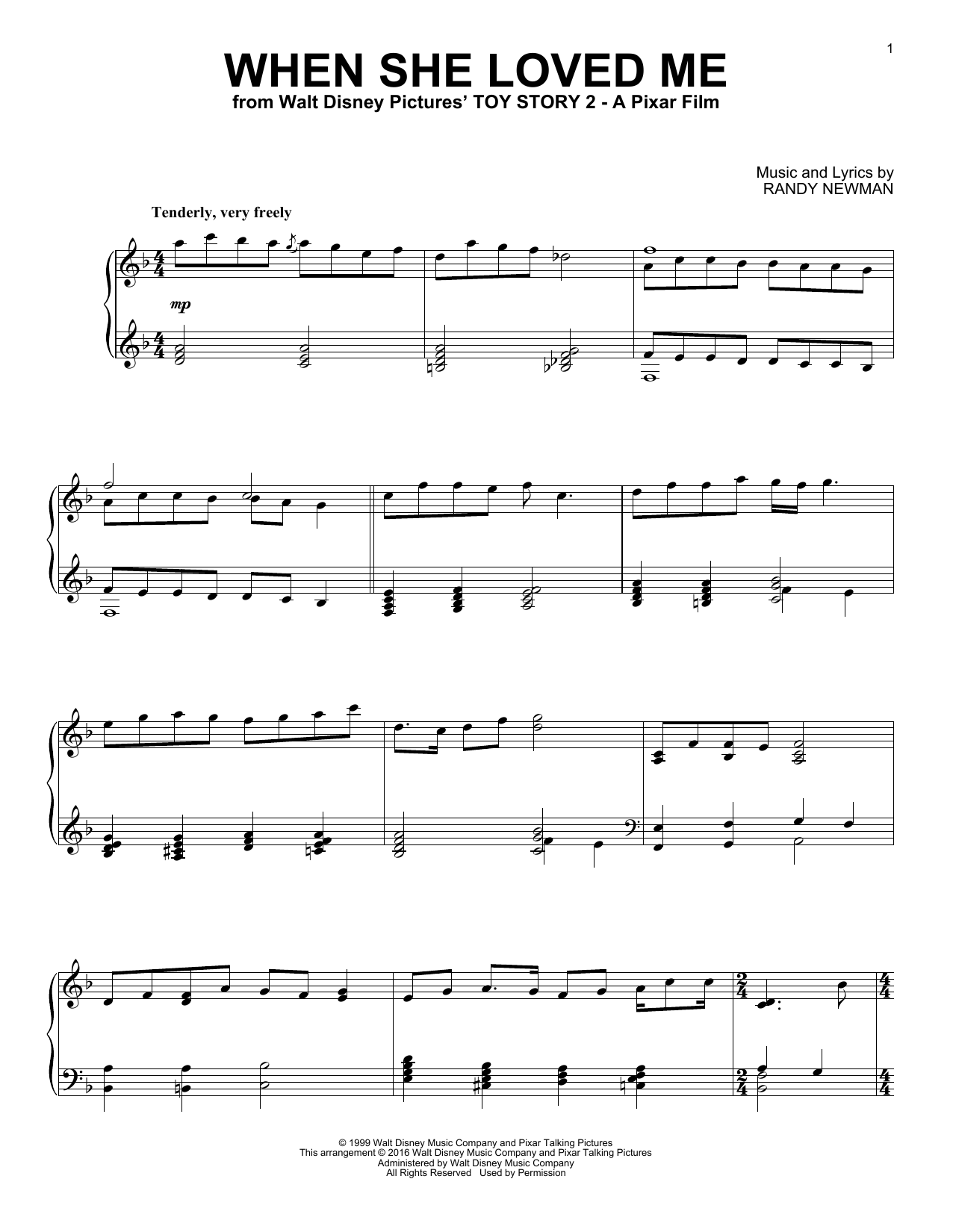 Download Sarah McLachlan 'When She Loved Me' Digital Sheet Music Notes & Chords and start playing in minutes