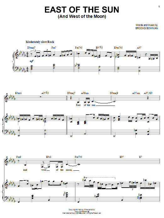 Sarah Vaughan East Of The Sun (And West Of The Moon) sheet music preview music notes and score for Piano, Vocal & Guitar (Right-Hand Melody) including 5 page(s)