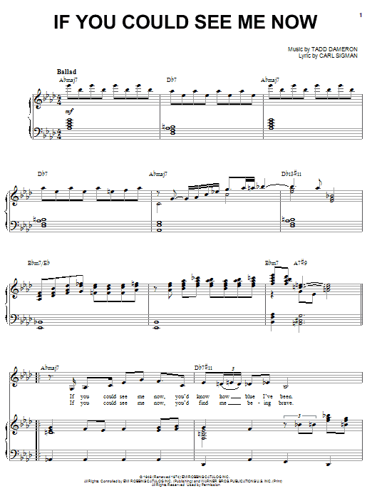 Sarah Vaughan If You Could See Me Now sheet music preview music notes and score for Piano, Vocal & Guitar (Right-Hand Melody) including 4 page(s)