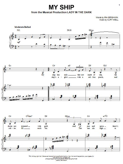Sarah Vaughan My Ship sheet music notes and chords